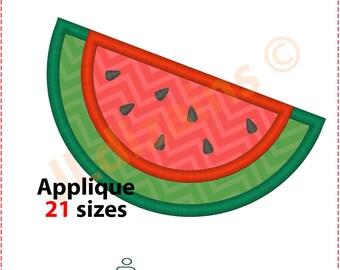 Watermelon Applique Design. Watermelon embroidery design. Embroidery designs watermelon. Watermelon slice applique Machine embroidery design
