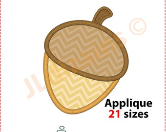 Acorn Applique Design. Acorn embroidery design. Embroidery applique acorn. Nut embroidery. Nut applique. Oak nut. Machine embroidery design.