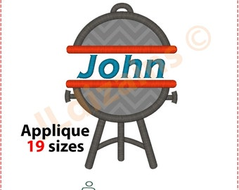 Barbecue Applique Design. Barbecue embroidery design. BBQ aplique. BBQ embroidery. Split barbecue embroidery. Machine embroidery design
