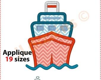 Cruise Ship Applique Design. Cruise ship embroidery design. Ship embroidery design. Applique ship. Embroidery. Machine embroidery design