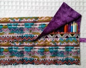 Pencil Roll Organizer Storage Rollup for Coloring, Purple, Teal Aztec Style Fabric, Colored Pencil Roll, Coloring, Marker Roll FREE SHIP