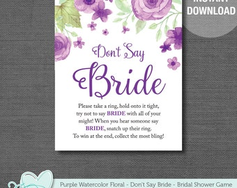 Don't Say Bride Bridal Shower Game, Don't Say The Word Bride, Purple, Watercolor Floral, Instant Download, Printable, Rustic, Country, 007A