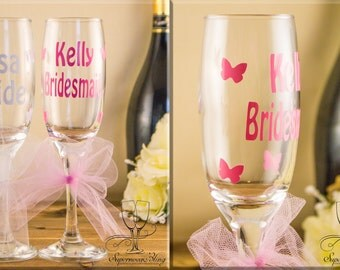 Tutu CHAMPAGNE Butterflies - personalised|glass|glasses|bride|bridesmaid|gift|Mother of the Bride, Groom|custom|Bridal|Bridesmaids