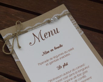 Menu 2 range. Wedding country chic|