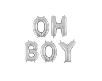 Oh Boy Letter Balloons, Oh Boy Silver Banner, Silver Boy Gender Reveal Balloons, Silver Baby Shower Letter Balloons, Silver Letter Balloons