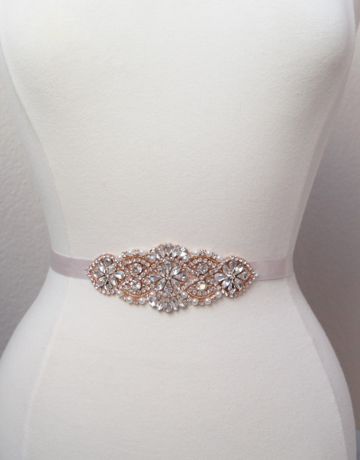 Rose gold bridal belt rose gold bridesmaids belt rose gold for Sparkly belt for wedding dress