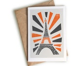 Eiffel Tower Card, A6 Size, Paris Travel Art, Engagement Card, Holiday Surprise, Visit Paris, France, Europe, Traveller and Backpacker