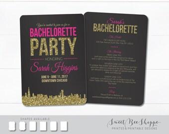 Chicago Bachelorette Invite, Chicago Bachelorette Party Invite, Chicago Skyline Bachelorette Invitation, Bachelorette Party Invitation