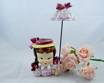 Head Vase Napco Little Girl with Umbrella Purple and Pink , Collectible Planter