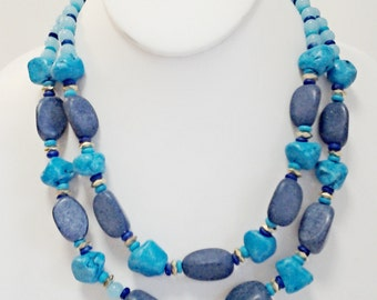 Two Strands Blue Beaded Turquoise Howlite Necklace / Beaded Necklace withBlue Stones / Bib Necklace.