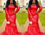 Awa custom long sleeve train mermaid sexy dress black,white,red - Prom Dress - Valentine
