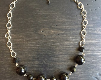 Black glass bead necklace.