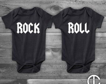 Rock and Roll - Twins - Infant Newborn, Funny Baby Shower Gift, Boy or Girl, Gender Reveal - Set of 2 - Two White on Black Onesies Onesie