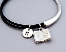Book charm Bangle, reading book charm bracelet, open book, Novelist, Writer's bracelet, Leather bracelet, Leather bangle, Initial bracelet