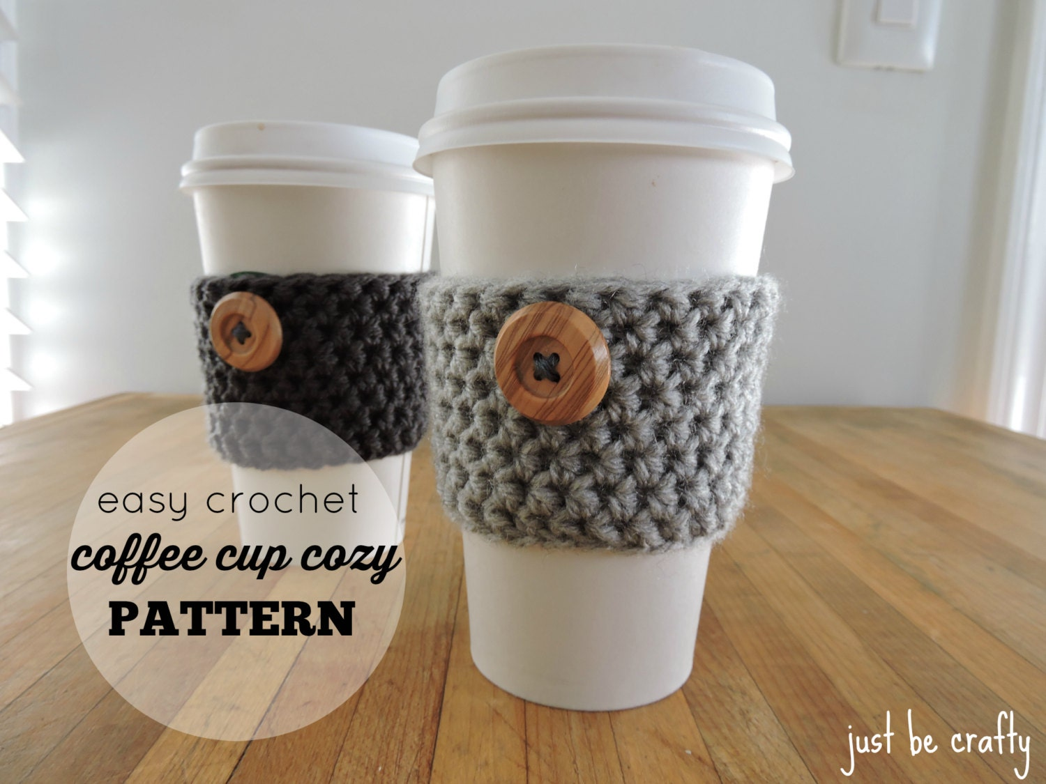 Crochet Coffee Cup Cozy Pattern PDF Download; Coffee Cup ...