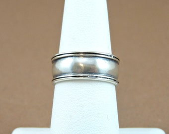 Size 7 Sterling Silver Wide Band Ring