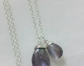 Iolite Necklace, Sterling Silver Pendant, Cat's Eye Necklace, Iolite Pendant, Purple Stone Necklace, Iolite Jewelry, Cats Eye Pendant
