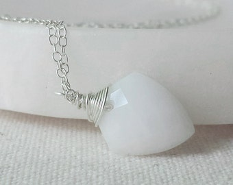 White Agate Necklace, Sterling Silver Necklace, Agate Necklace, White Agate Pendant