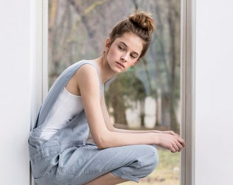 Loose Linen jumpsuit / Light elephant grey washed  linen jumpsuit/ Washed linen overall