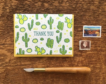 Cactus Pattern Thank You Card,  Letterpress Folded Note Card, Blank Inside