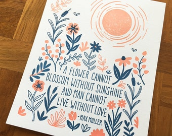 Letterpress Art Print, Max Muller Quote, 8 x 10
