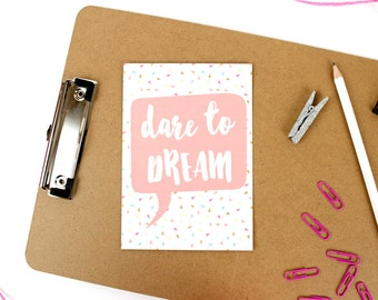 Dare to Dream - Polka Dot Pink Multicolour - Positive Empowering Inspirational - A6 Print Postcard