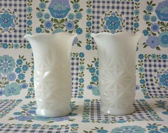 Pair Of Milk Glass Hazel Atlas Vases