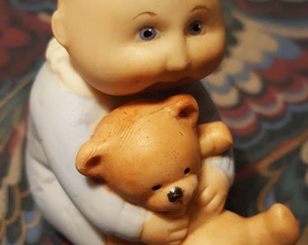 Cabbage Patch Porcelain Bald Baby In Blue Holding Teddy Bear 1984