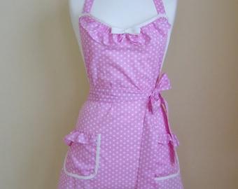 Retro Apron/1950s Style Apron/Vintage Style Apron/Apron/Pink Polka Dot Apron/Polka Dot Apron/Womens Apron/Pink Apron/ Handmade Apron