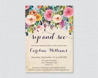 SIP and SEE Invitation Printable Digital file Sip n See