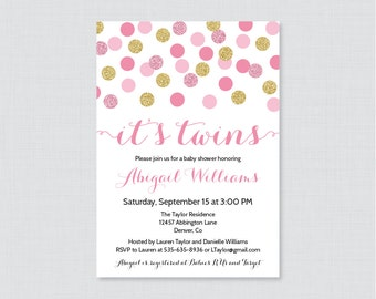 Twins Baby Shower Invitation Printable or Printed - Pink Twins Shower Invites with Gold Glitter Polka Dots - Pink Twins Invites 0008-p