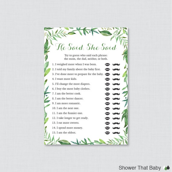 Green Baby Shower He Said She Said Quiz   Baby Shower Mommy Or Daddy Game    Simple, Classic Green Wreath Baby Shower Phrases Quiz   0056