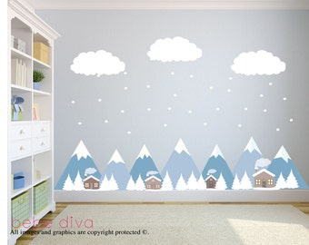 Mountain wall decals wall decals nursery baby wall decal for Kinderzimmer berge