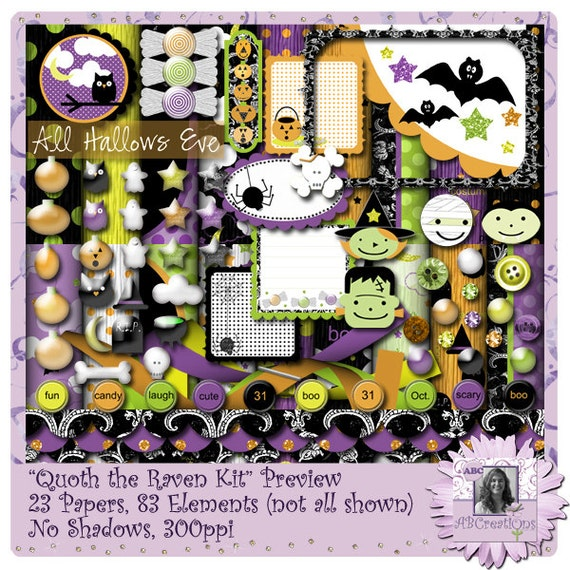 Quoth The Raven Digital Scrapbooking Page Kit, Halloween,  trick-or-treat, pumpkin carving, candy corn, costumes,  pumpkin patch