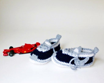 Crochet blue baby sneakers, knitted baby shoes, crochet baby booties, newborn boy Nike sneakers, cute  booties, hand knitted baby clothes