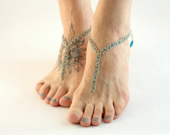 Beaded Barefoot Sandals, barefoot jewelry, Hemp Jewelry, Footwear, Blue, Foot Accessories, Beach Shoes, Earthing Comfortable foot jewelry