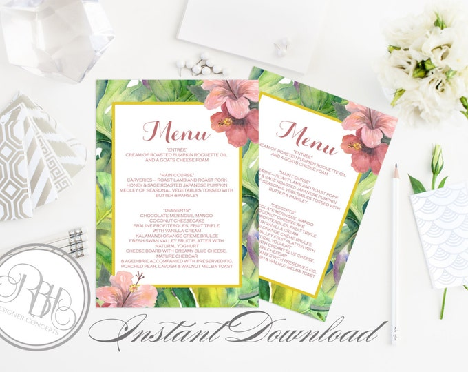 "Tropical Island Wedding Menu Template - INSTANT DOWNLOAD- DIY Text Editable-Tropical Island Pink Hibiscus Menu Template-""Lucinda"""