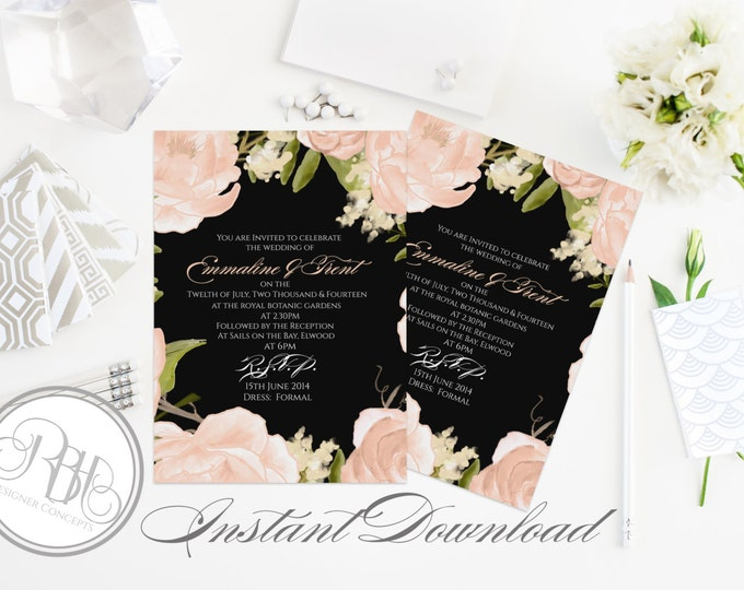 "Elegant Watercolor Wedding Invitation Template-INSTANT DOWNLOAD-5x7 PDF Editable Text Only-Watercolor Peach Peonies-""Juliet-Nadine in black"""