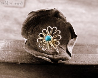 Turquoise Flower Faux Clip on/Fake Nose Ring/Wire Wrapped jewelry/Handmade/Brass Nose Ring/Body Jewelry/Free Combined Shipping/Nose Clip on