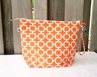 Knitting Bag in Orange print, Large Zippered Project Bag, Shawl Knitting project bag, Wedge Knitting Tote