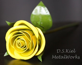 Metal Sweetheart Yellow Rose, Mother's Day, Metal Rose, 11th Anniversary, 6th Anniversary, 4th Anniversary Gift, Forever Rose, Flower