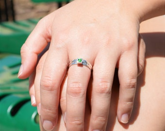 Square Emerald Ring, Emerald Solitaire, Emerald Silver Ring, May Birthstone, Square Stone Mothers Ring, Silver Band, Square Stone Ring
