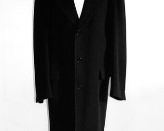 Maxi black man's coat / Men's long coat / wool coat outsize / classic coat / retro