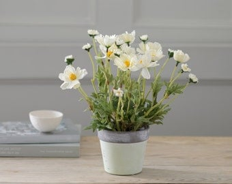 Artificial Potted Cosmos Plant | Silk Plant Hand-Potted In A Ceramic Pot | Hand-Made By UK Florist