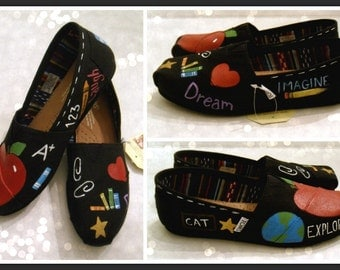 Women's School Teacher TOMS, Hand Painted TOMS, Teacher, Principal, Gift for her Christmas gift, Graduation Gift, Customized TOMS, Baltimore