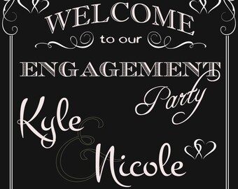 Welcome to our Engagement Chalkboard Sign digital download