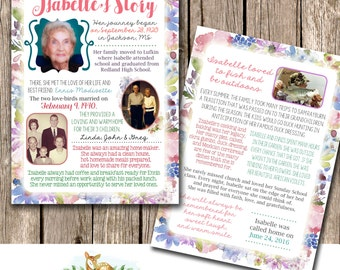 Funeral Memorial Service Program  | Obituary | In Remembrance of | The Story | Pamphlet | Memorabilia Remember a Loved One | Unique Keepsake
