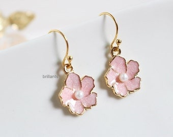 Cherry blossoms earrings in gold, Pink flower earrings, Bridesmaid gift, Everyday earrings, Wedding earrings