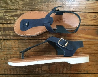 Ancient Greek style,FREE SHIPPING in the USA,T Strap leather sandal,White sole sandals,Blue sandals,gladiator,flat,women's sandals - Elektra