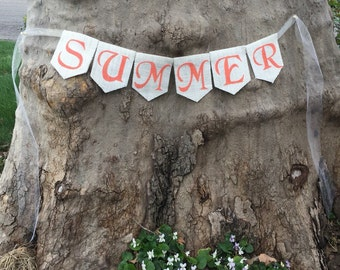 SUMMER BANNER Summer Bunting Summer Garland Home Decor Summer Decor Rustic Summer Photo Prop Pool Sing Pool Party Summer Burlap Banner